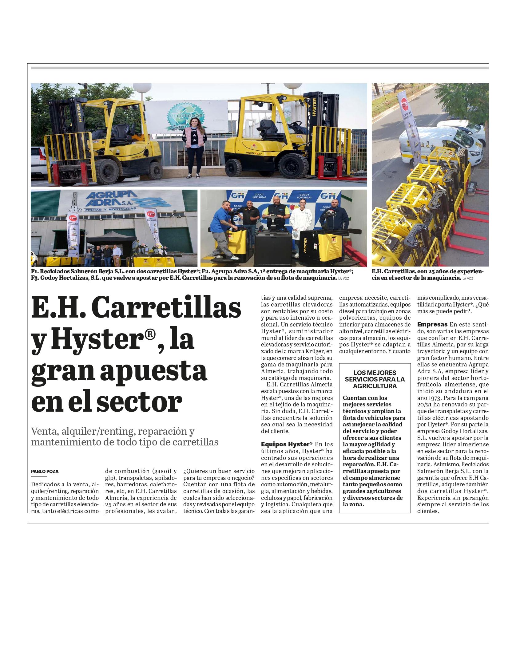 E. H. Carretillas Almeria. La Voz de Almeria